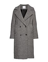 Fur boucl wool coat - GREY