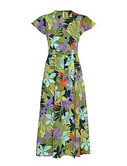 Crossover tropical dress - GREEN