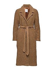 Belted wool coat - DARK BROWN