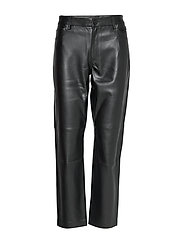 Leather effect straighth trouser - BLACK