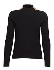 Contrast knit sweater - BLACK