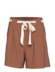 High-waist shorts - DARK BROWN