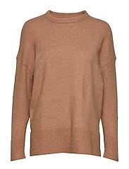 Ribbed detail sweater - MEDIUM BROWN
