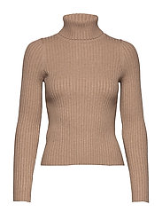 Ribbed recycled polyester sweater - LT PASTEL BROWN