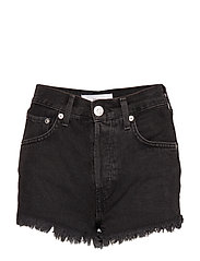Frayed hem denim shorts - OPEN GREY