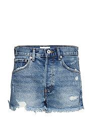 Frayed hem denim shorts - OPEN BLUE