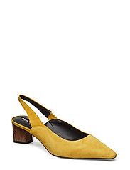 Heel Leather Shoes Høyhælte Sko Pumps Slingbacks Gul MANGO