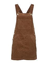 Corduroy pinafore dress - DARK BROWN