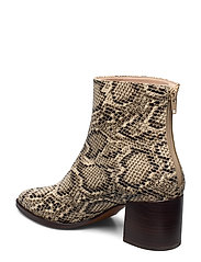 Snake effect ankle boots