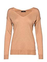 V-neckline sweater - DARK BROWN