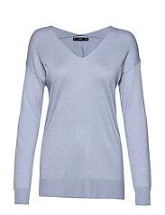 V-neckline sweater - LT-PASTEL BLUE