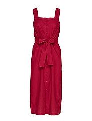 Linen strap dress - MEDIUM RED