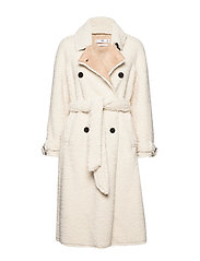 Faux shearling long coat - LIGHT BEIGE