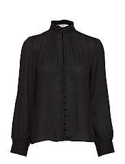 Neck ribbon satin blouse - BLACK