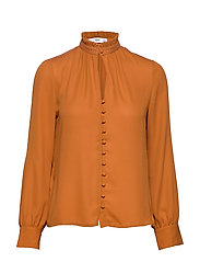 Neck ribbon satin blouse - ORANGE