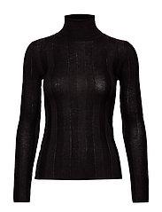 Turtleneck ribbed sweater - BLACK