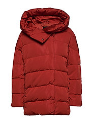 Hood quilted coat - RED