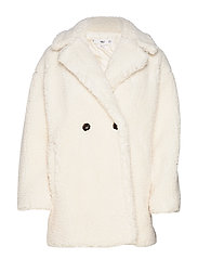 Faux shearling oversized coat - NATURAL WHITE