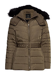 Detachable hood feather down coat - MEDIUM BROWN