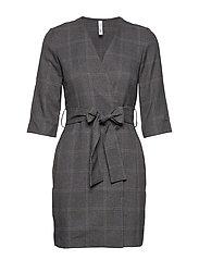 Belt printed dress - GREY