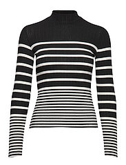 Ribbed knit sweater - BLACK