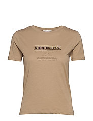 Embroidered message t-shirt - LIGHT BEIGE