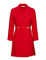Buttoned wrap dress - MEDIUM RED