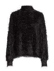 Faux-fur textured sweater - BLACK
