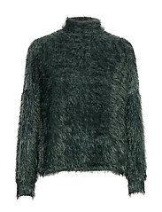 Faux-fur textured sweater - GREEN