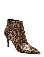 Snake-effect ankle boots - BROWN