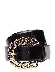 Embossed buckle belt - BLACK