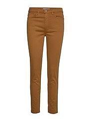 Straight cotton trousers - MEDIUM BROWN