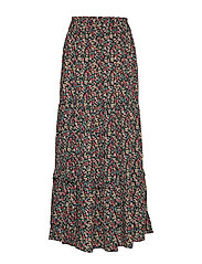 Long floral skirt - BLACK