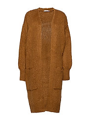 Pocket long cardigan - MEDIUM BROWN