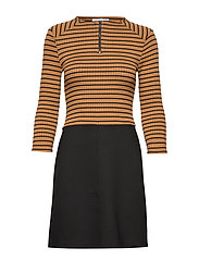Striped contrast dress - ORANGE
