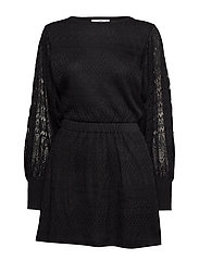 Combined lace dress - BLACK