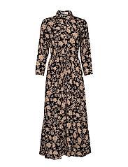 Printed shirt dress - BLACK