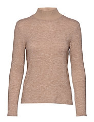 Ribbed knit sweater - LT PASTEL BROWN
