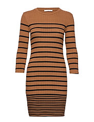 Ribbed jersey dress - BROWN