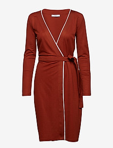 Bow wrap dress - DARK BROWN