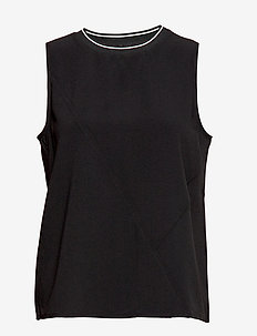 Contrast neck top - BLACK