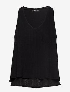 Ribbed strap t-shirt - BLACK
