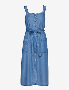 Denim style soft dress - OPEN BLUE