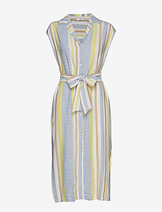 Striped shirt dress - YELLOW