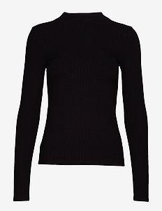 Ribbed t-shirt - BLACK