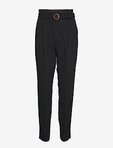 Belt straight-fit trousers - BLACK