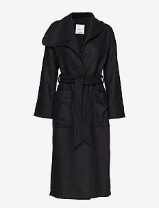 Lapels wool coat - BLACK
