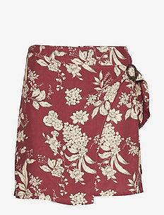 Printed miniskirt - DARK RED