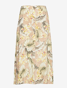 Printed button skirt - LT PASTEL BROWN