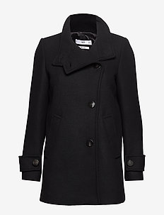 Buttoned wool coat - BLACK